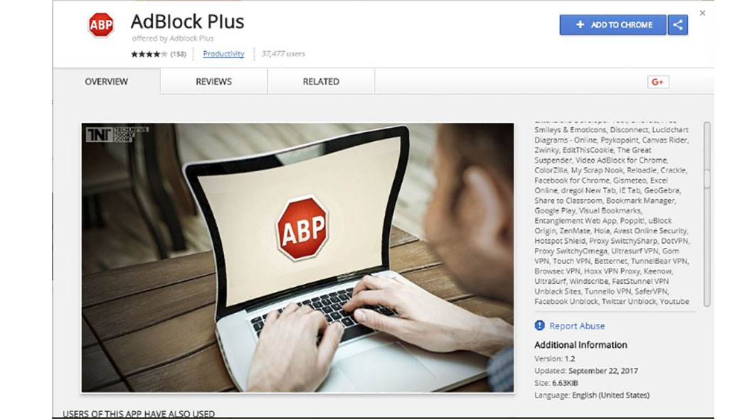 Chrome Web Store AdBlock Plus malware